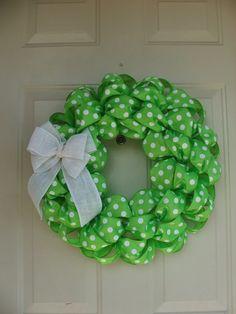 St. Patricks Day, Spring, 2015 easter, Summer Lime Green Polka Dot Wreath