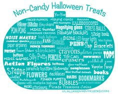 Need some non-food ideas for Halloween treats? Non-food treats for Halloween are always a great idea for those with food allergies or special diets. With the popularity the FARE's Teal Pumpkin Project it is helpful to share some non-candy ideas with friends and family!  Some Ideas…  action figures back scratchers bookmarks books bubbles buttons calculators crayons erasers fans finger puppets finger traps flowers foam gliders friendship bracelets glasses ... #halloween #tealpumpkin #allergies