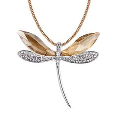 Crystal from Swarovski Elegant Dragonfly Pendant Necklace Women Fashion Long Sweater Charms Jewelry Made with Swarovski Element Dragonfly Necklace, Dragonfly Pendant, Necklace Types, Necklace Lengths, Long Pendant Necklace, Jewelry Party, Charm Jewelry, Beautiful Necklaces, Swarovski