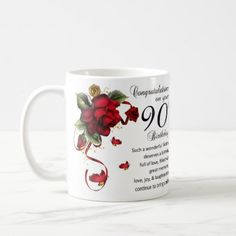 Mother 90th Birthday, Gift Mug 90th Birthday Surprise Birthday Gifts, 90th Birthday Gifts, Mom Birthday Crafts, Birthday Coffee, Birthday Gift Baskets, Birthday Ideas, Birthday Cards, Candy Bar Posters, Candy Cards