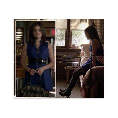 Aria's royal blue dress with black belt and buckle boots on Pretty Little Liars found on Polyvore