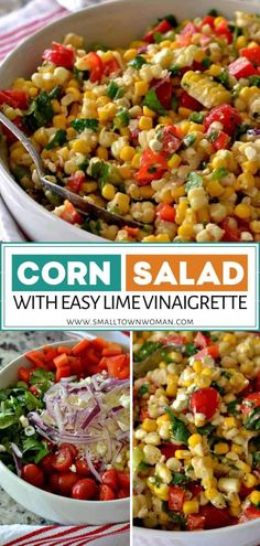 This delectable menu idea will be a summer staple at your home! Corn Salad with Easy Lime Vinaigrette comes together quickly and tastes incredibly fresh. This easy corn salad recipe goes beautifully with your favorite summer meals. Save this and try it! Corn Salad Recipe Easy, Corn Salad Recipes, Corn Salads, Chicken Salad Recipes, Fresh Salad Recipes, Summer Corn Salad, Fresh Corn Salad, Easy Summer Salads, Easy Salads
