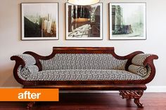 Before & After: An Antique Settee Goes Greek Key | Apartment Therapy.  WOW! what a difference a change in fabric can make!