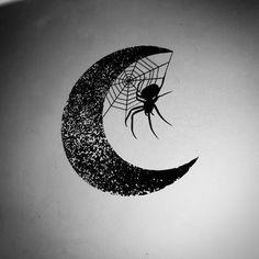 "19 Likes, 2 Comments - Geo Cupcake (@geocupcaketattoos) on Instagram: ""A cute little spider & moon I'd love to do •£70• . . . . #tattoo #tattoos #tattooartist…"""