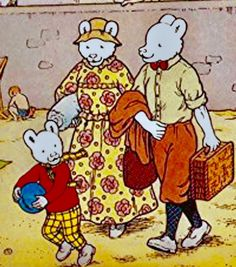 Rupert Bear and parents on the beach Book Illustration, Illustrations, Winnie The Poo, Paddington Bear, Bear Pictures, Feeling Special, A Comics, Brown Bear, Back In The Day