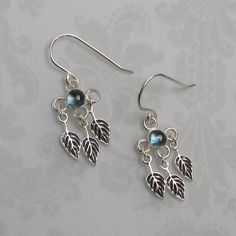 London Blue Topaz Leaf Chandelier Earrings handcrafted from sterling silver — Kryzia Kreations: Nature, mythic, vintage style artisan jewelry  $120.00