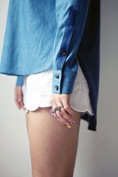 Lace Shorts + Denim Top
