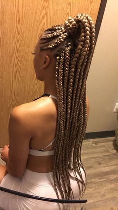 Braided ponytail hairstyles for black hair Golden thick plaited ponytail Braided ponytail hairstyles Feed In Braids Ponytail, Braided Ponytail Hairstyles, Braided Hairstyles For Black Women, Braids For Black Hair, Box Braids Hairstyles, Black Hairstyles, Goddess Hairstyles, Fishtail Braids, American Hairstyles