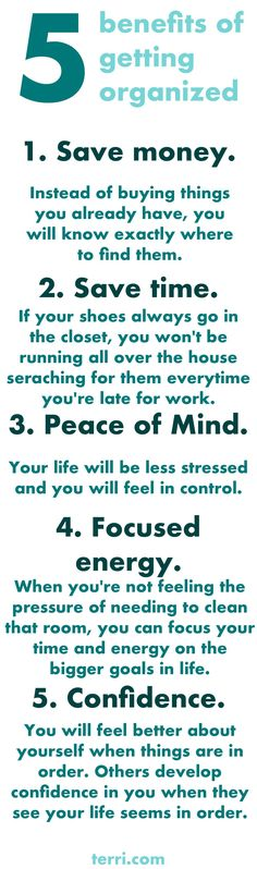 5 (FIVE) benefits of getting organized! Organization created a peace of mind, focused energy and confidence in yourself! Not to mention you can save time and money just by having things in order! I hope this gives you the motivation and determination to get organized! Click the pin for more motivational quotes and success tips!