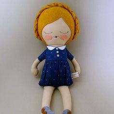 Clara 18 Stoff Puppe Stoffpuppe anpassbare blau von piggyhatespanda