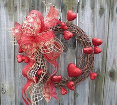 Valentines WreathValentines Day Decor Burlap Mesh by HornsHandmade