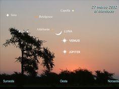 Conjunción planetaria entre Júpiter,  Venus y la Luna. ¿Cuándo se producirá? Pincha en la imagen.