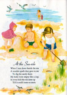 """A Child's Garden of Verses, Illustration by Eloise Wilkin, 1957 - Beach      """"A Child's Garden of Verses"""", Little Golden Books, 1957 (reissue)    Poems by Robert Louis Steveson  Illustrations by Eloise Wilkin    """"At the Seaside"""""""