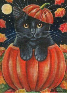 Black Kitten - Halloween Painting in Acrylics Halloween Canvas, Halloween Painting, Halloween Cat, Holidays Halloween, Vintage Halloween, Happy Halloween, Halloween Clipart, Black Cat Art, Black Cats