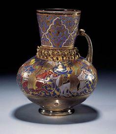 Enamelled & Gilded Glass Jug Half of Century CE Egypt/Syria, Mamluk Sultanate, Abbasid Caliphate) Glass Jug, Glass Vessel, Antique Glass, Antique Art, Turkish Art, Turkish Tiles, Portuguese Tiles, Moroccan Tiles, Historical Art