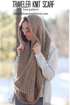 Pretty, oversized, chunky knit scarf pattern. It works as a cowl and a snood as well! #freepattern #knitting #diy #crafts