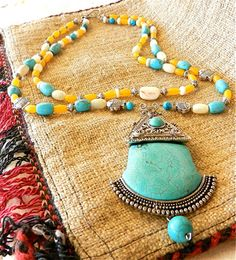 Ornate Ethnic Tibetan Silver Turquoise by EthnicBeadsandSilver, $46.50