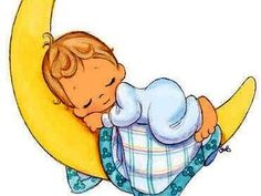 precious moments baby sleeping on crescent moon -- cute for baby shower tags Precious Moments Nursery, Precious Moments Quotes, Clipart Baby, Angel Clipart, Scrapbooking Image, Knitted Baby Blankets, Baby Art, Baby Scrapbook, Digi Stamps