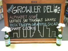 Our 'Welcome' sign for our NY Deli themed PTA Teacher Appreciation luncheon.