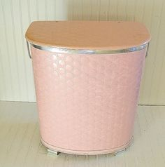 Large Pink Wicker Clothes Hamper  Vintage Pearl by DivineOrders, $60.00