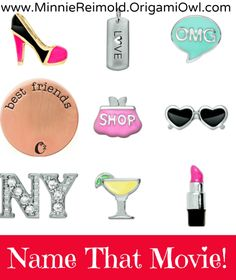 Origami Owl Name That Movie! game. ANina Smith Origami Owl Independent Designer #12756106 Like me on Facebook: https://www.facebook.com/OrigamiOwlNinaSmithIndependentDesigner or visit my website: http://www.ninasmith.origamiowl.com Interested in becoming an Independent Designer?! Don't wait another day! ninamsmith@gmail.com