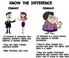 I hadn't wondered about this question at all — I just assumed feminist was synonymous with feminazi — but that just shows how much I know. I was very helpfully sent a cartoon to h… Funny Photos, Best Funny Pictures, Feminist Men, Liberal Logic, Pro Choice, The More You Know, Patriarchy, Fight Club, Social Issues