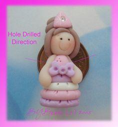 Little Princess Polymer Clay Charm Bead by rainbowdayhappy on Etsy, $2.75