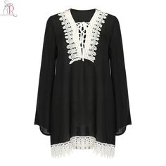 Black Crochet White Lace Up Lattice Loose Chiffon Dress Boho V Neck Long Flare Sleeve Casual Mini Spring Fall Women Clothing