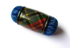 Tartanware pincushion; McBeth tartan. - could turn some napkin ring into pin cushions!