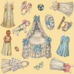 Edwardian Paper Doll Nursery ~ Cream ~ Medium fabric by peacoquettedesigns on Spoonflower - custom fabric Nursery Wallpaper, Dress Up Dolls, Little Dresses, Surface Design, Custom Fabric, Paper Dolls, Spoonflower, Wall Decals, Craft Projects