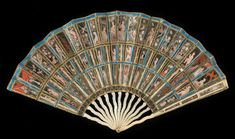 Folding fan, known as the Messel Mica Fan European, late 17th century. This exceptional folding fan is one of only four of its type still in existence. The leaf is constructed from three tiers of translucent mica (a shiny silicate mineral), mounted between paper strips. The mica panels are gilded and painted. The sticks and guards of this luxury object have been crafted from bone
