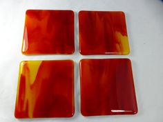 Fused Glass Coasters with fiery red and orange  by SugarLipsGlass