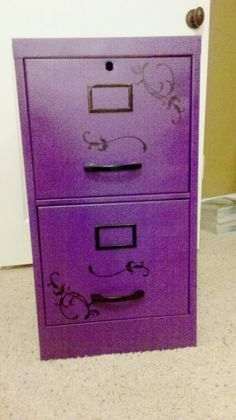 Scrumptious Purple filing cabinet I like the design on it - Nice! Purple Door, Purple Haze, Shades Of Purple, Aqua Blue, Purple Office, Mauve, All Things Purple, Purple Stuff, Purple Reign