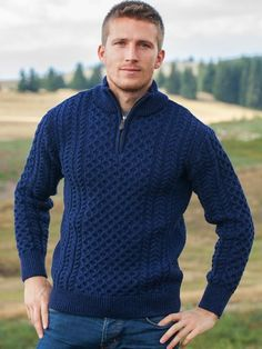 Shop our mens aran cable knit sweater with a half zip design. This mens Irish sweater is ideal for smart casual wear worn over a shirt or t-shirt. Half Zip Sweaters, Cable Knit Sweaters, Blue Sweaters, Sweater Shop, Men Sweater, Smart Casual Wear, Love Fashion, Men Fashion, Dark Denim Jeans