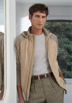 Embracing spring neutrals, Roch Barbot is a chic vision in the latest fashions from Canali.