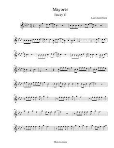 "Partitura de la Canción ""Mayores"" | Becky G Violin Sheet Music, Piano Music, Becky G, Oboe, Flute, It Works, Neymar, Vip, Easy Sheet Music"