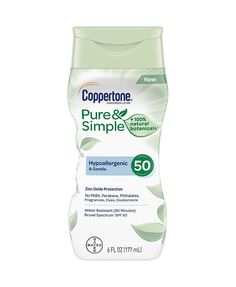 Coppertone Pure & Simple Sensitive Sunscreen Lotion Hypoallergenic SPF 50 - Coppertone Pure & Simple Sensitive Skin is a mineral sunscreen lotion that is gentle on the skin Sunscreen Spf 50, Natural Sunscreen, Facial Sunscreen, Lotion, Pure Simple, Best Sunscreens, Broad Spectrum Sunscreen, Pure Products, Cleanser