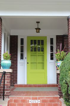 I would not choose this color - but saved this to show how well a screen door (or storm door) can be matched w/ a front door, both painted the same color. Thinking of this for my bedroom door at the mountain house. Painted Doors, House Doors, Door Upgrade, Traditional Front Doors, Green Front Doors, Screen Door, Painted Storm Door, Door Design, House Exterior