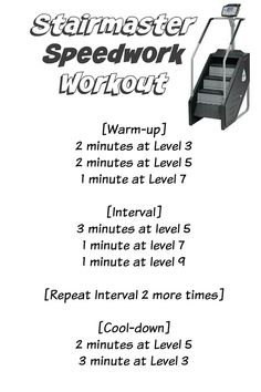 Stairmaster Speedwork Workout + CSX Compression so Stairmaster Workout, Hiit Workout At Home, Treadmill Workouts, Workout Warm Up, Workout Ideas, Stair Stepper Workout, Stair Climber Workout, Stairs Workout, Hiit Workouts For Beginners