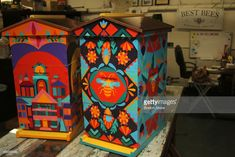 Painted bee hives - Hives custom painted by staff artist Paige Mulheron are valued at – Painted bee hives Bee Hives Boxes, Bee Boxes, Honey Bee Hives, Honey Bees, Beekeeping For Beginners, Raising Bees, Save The Bees, Bees Knees, Bee Keeping