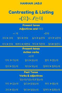 -(으)ㄴ/는데 verb ending chart