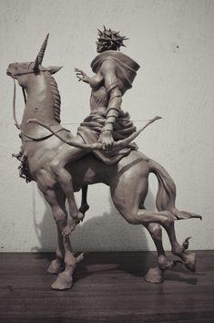 ArtStation – Four Horsemen of the Apocalypse, Sadan Vague - Modern Mythological Creatures, Fantasy Creatures, Mythical Creatures, Shadow Of The Colossus, Apocalypse Tattoo, 3d Pose, Traditional Sculptures, Horsemen Of The Apocalypse, Knight
