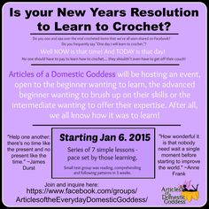 Learn to crochet online with Articles of  Domestic Goddess, starts January 6, 2015