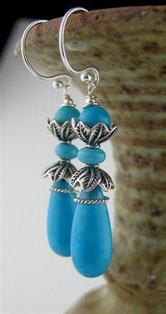 Sleeping Beauty Turquoise Earrings Blue Stone by LoneRockJewelry, $160.00