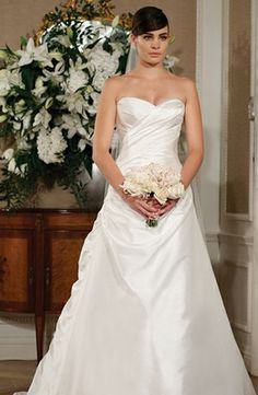 Sweetheart A-Line Wedding Dress  with Asymmetric Waist in Silk Taffeta. Designer: Ramona Keveza.