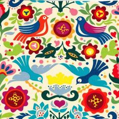 La Paloma Multi on Tea Laminate.tablecloth, placemats or perhaps a bag? Laminated Fabric, Diy Projects To Try, Stencils, Floral Design, Alexander Henry, Kids Rugs, Quilts, Wall Art, Drawings