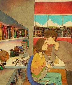 Korean artist Puuung creates heartwarming illustrations capturing the small, everyday things that make love whole. Art And Illustration, Illustration Mignonne, Illustrations, Love Is Sweet, What Is Love, Cute Love, Puuung Love Is, Art Amour, What's True Love