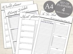 Personal Planner Set, Set 4 Pages, To Do List, Weekly Planner, Meal Planner, Cleaning Schedule, Format A4, INSTANT DOWNLOAD