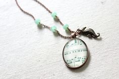 """""""Sea Nymph"""" vintage sheet music necklace"""