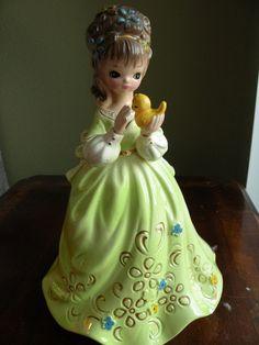 Vintage Josef Original green girl figurine